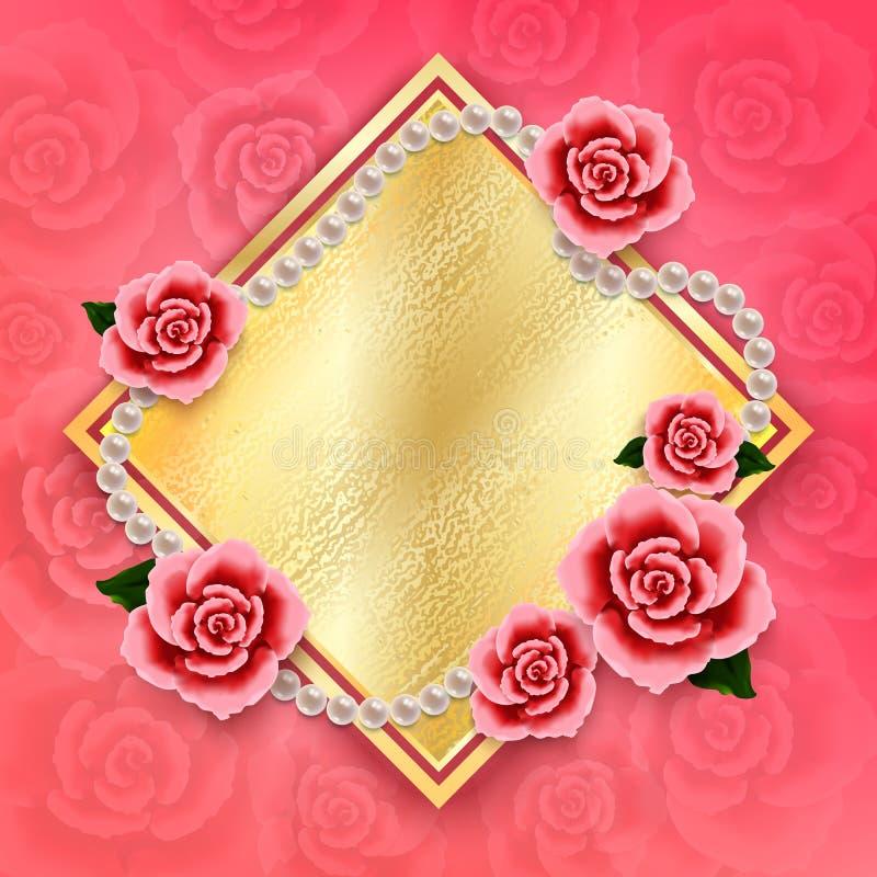 Valentindagbakgrund med rosor och pärlor wallpaper Reklamblad vektor illustrationer