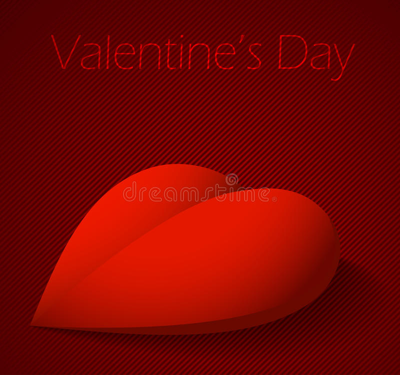 Valentindagbakgrund med stor röd hjärta royaltyfri illustrationer
