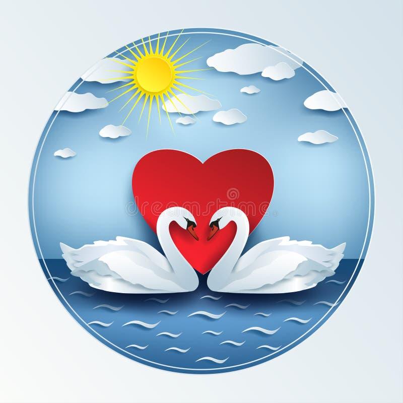Valentindagbakgrund med svanar 3d och hjärta vektor illustrationer