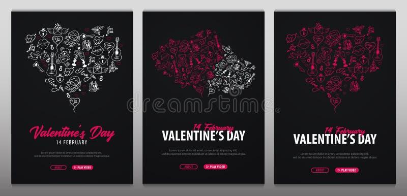 Valentindagbaner med klotterbakgrund 14 Februari också vektor för coreldrawillustration royaltyfri illustrationer