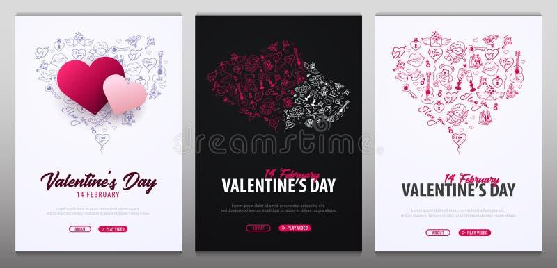 Valentindagbaner med klotterbakgrund 14 Februari också vektor för coreldrawillustration vektor illustrationer