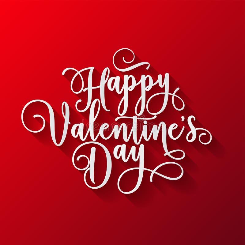 Valentindagbokstäver Handskrivet romantiskt hälsa kort med lycklig valentindag för text Februari 14, förälskelse och hjärta vektor illustrationer