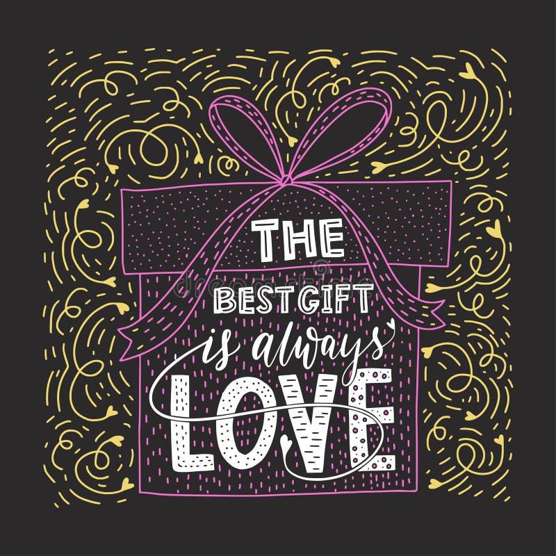 Valentindagbokstäver Handskrivet romantiskt hälsningkort royaltyfri illustrationer