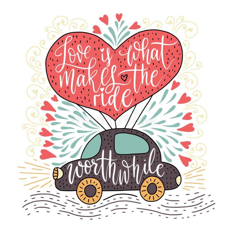 Valentindagbokstäver Handskrivet romantiskt hälsningkort vektor illustrationer