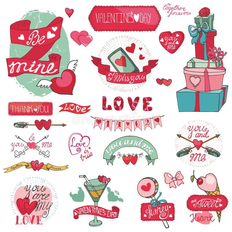 Valentindagdesign, etiketter, symbolsbeståndsdelar vektor illustrationer