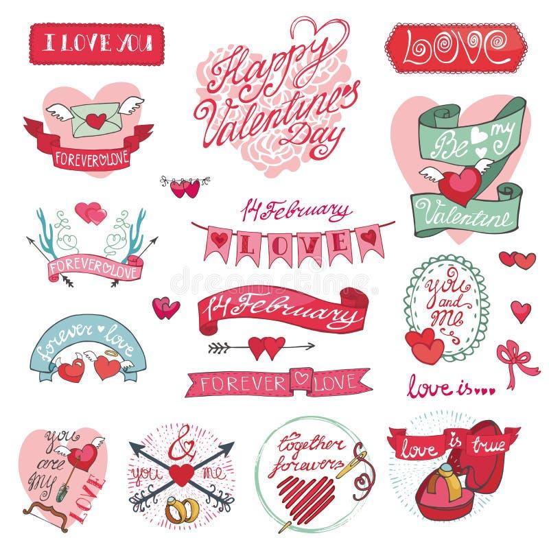 Valentindagdesign, etiketter, symbolsbeståndsdelar royaltyfri illustrationer