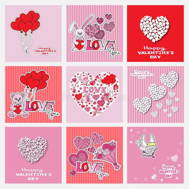 Valentindagen cards samlingen stock illustrationer