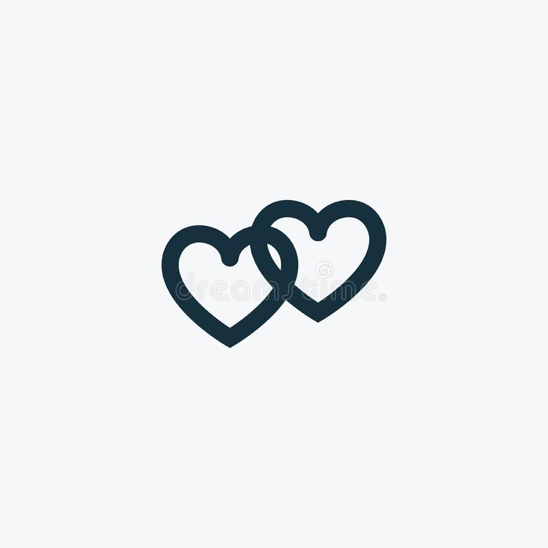 Valentindagen förband hjärtasymbolen stock illustrationer