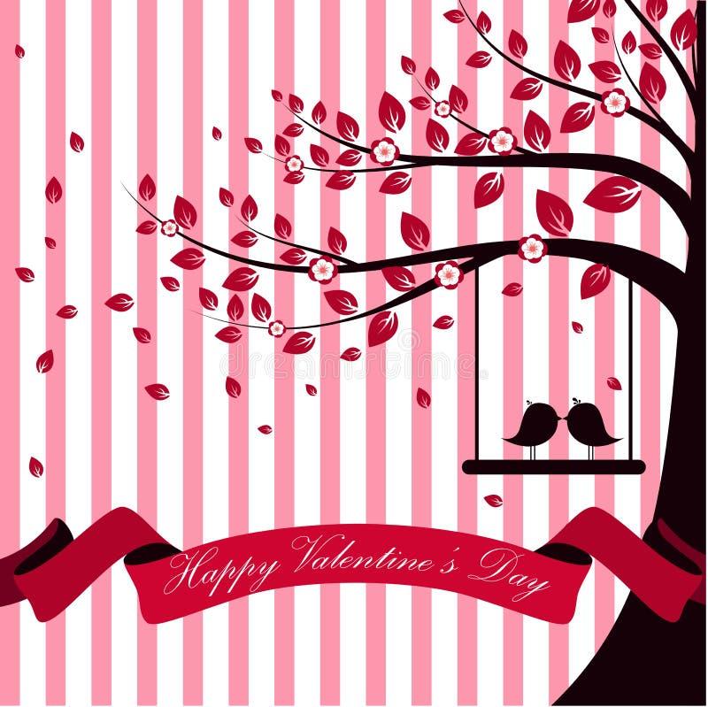 Valentindagen med trädhöst och vita rosa färger för rosa färgband brast bakgrund stock illustrationer