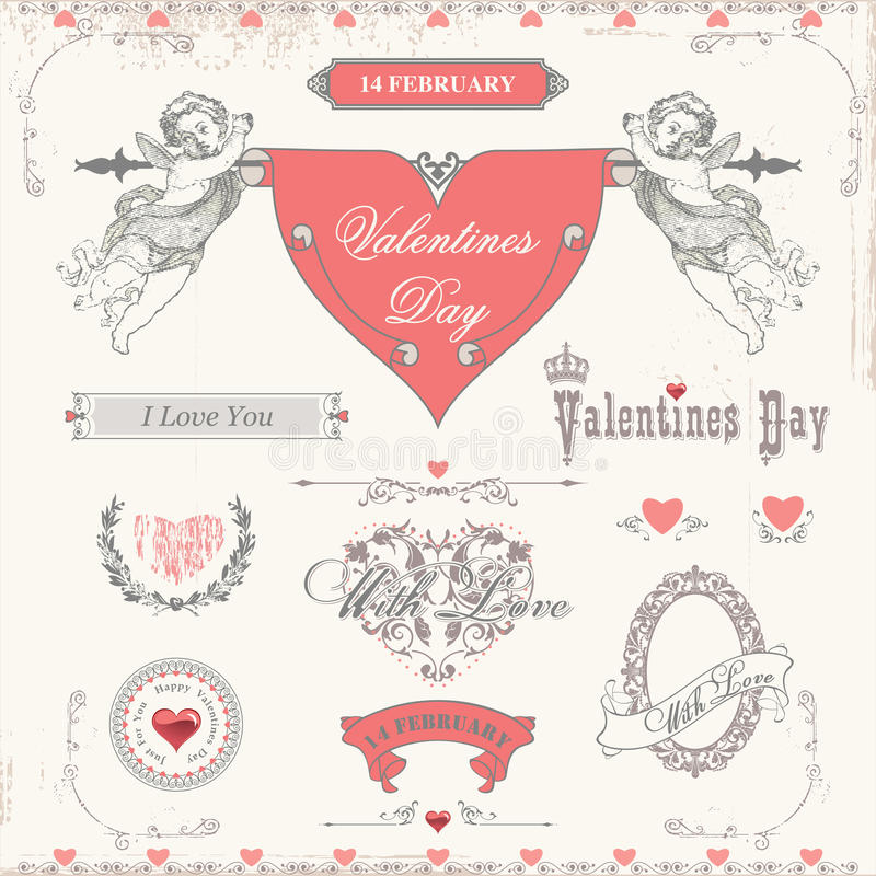 Valentindagetiketter, symbolsbeståndsdelsamling stock illustrationer