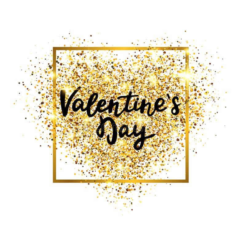 Valentindagguld blänker hjärta med glödande ram- och handbokstäver Lyxig bakgrund för hälsningkort, bröllop vektor illustrationer