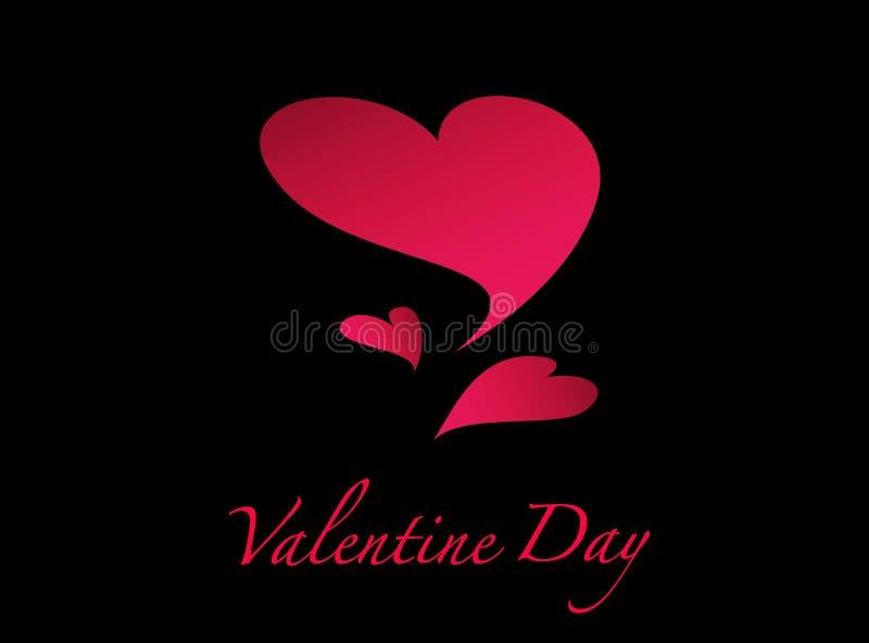 Valentindaghjärta på svart bakgrund stock illustrationer