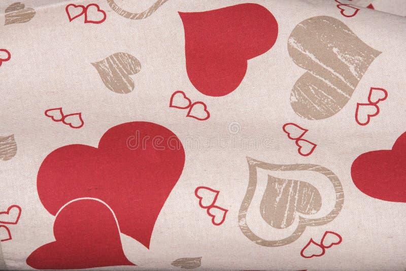 Valentindaghjärta på tyg arkivfoto