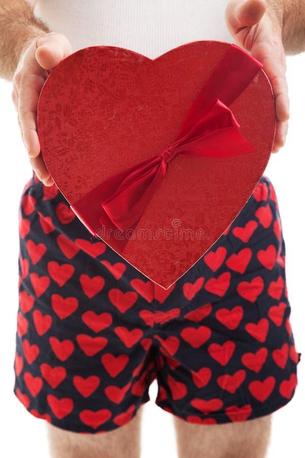 Valentindaghjärtor och boxare arkivfoto
