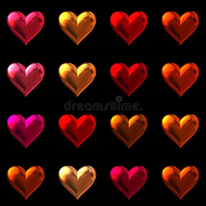 Valentindaghjärtor som isoleras på svart. royaltyfri illustrationer