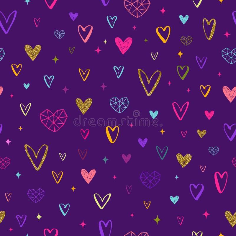 Valentindagillustration hjärtor mönsan seamless stock illustrationer