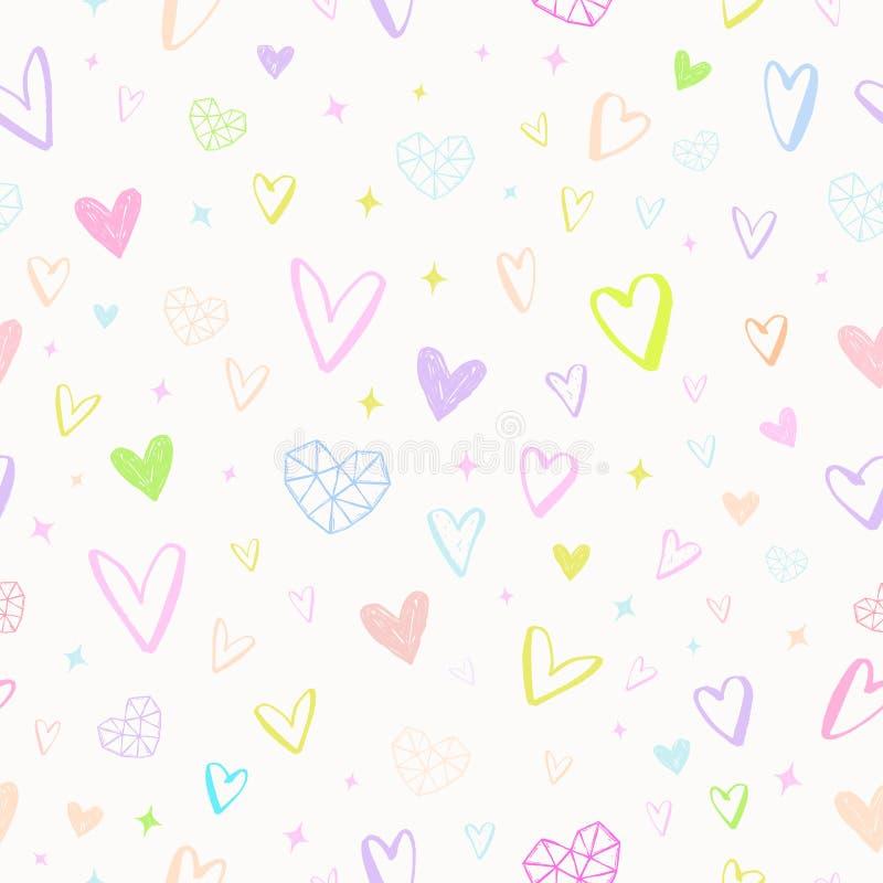 Valentindagillustration hjärtor mönsan seamless royaltyfri illustrationer