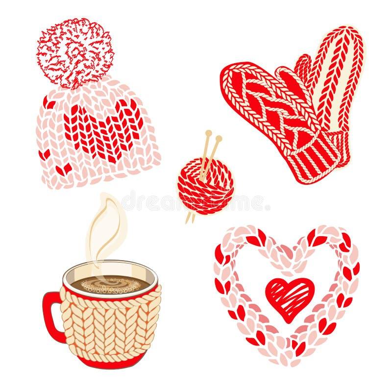 Valentindagillustration med varm stucken tillbehör: hatt med pompom, tumvanten och hårnäthalsduken Glödhet kakao- eller kaffekopp vektor illustrationer