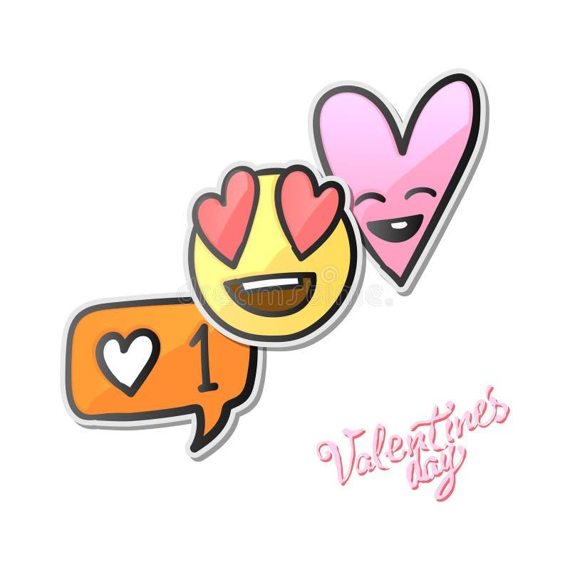Valentindagklistermärkear, förälskelseemoji, symboler, emoticons, vektorillustration vektor illustrationer