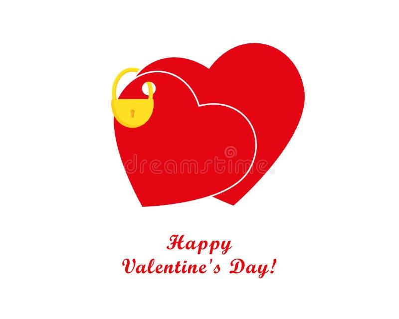 Valentindagkort, hjärtor och hänglås royaltyfri illustrationer