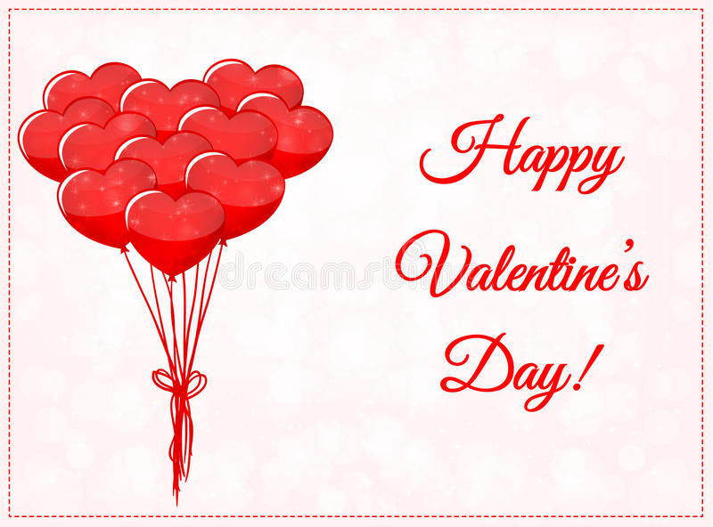 Valentindagkort med ballonger royaltyfri illustrationer