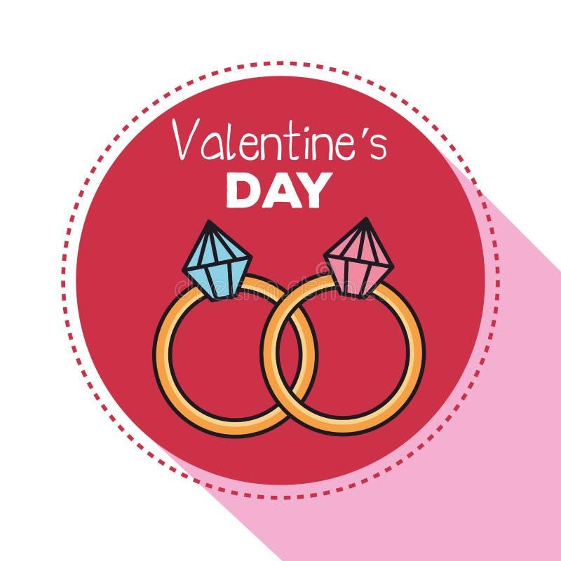 Valentindagkort med cirklar och diamanten stock illustrationer