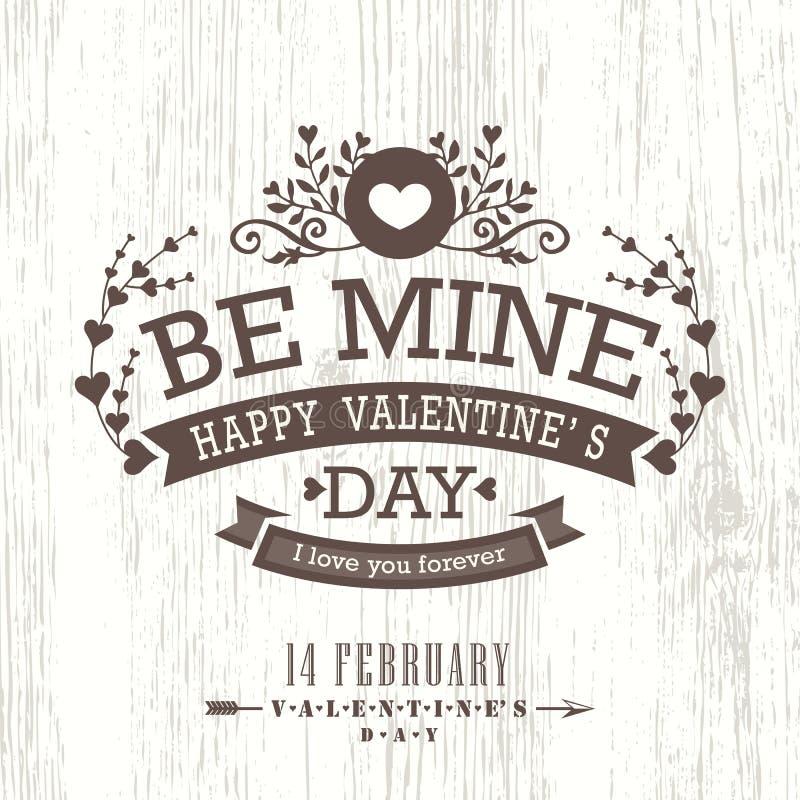 Valentindagkort med den blom- tappningramen på träbakgrund royaltyfri illustrationer