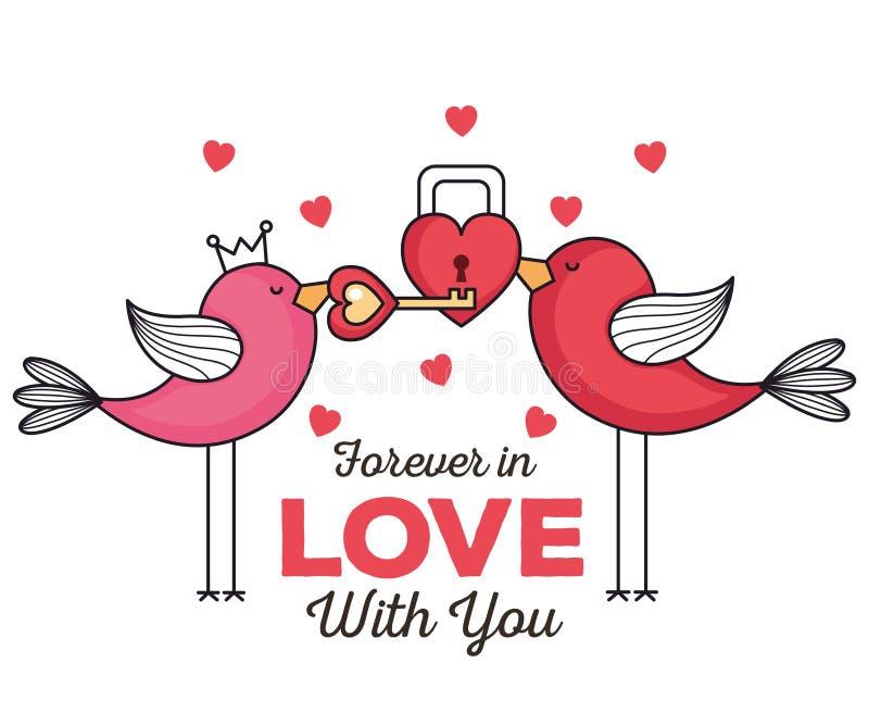Valentindagkort med fåglar och hänglåset royaltyfri illustrationer