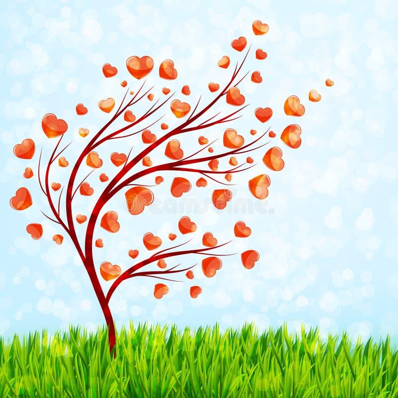 Valentindagkort med förälskelseträdet och grönt gräs vektor illustrationer