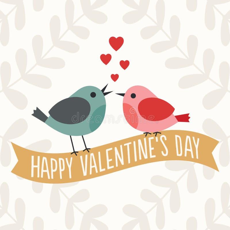 Valentindagkort med gulliga förälskelsefåglar stock illustrationer