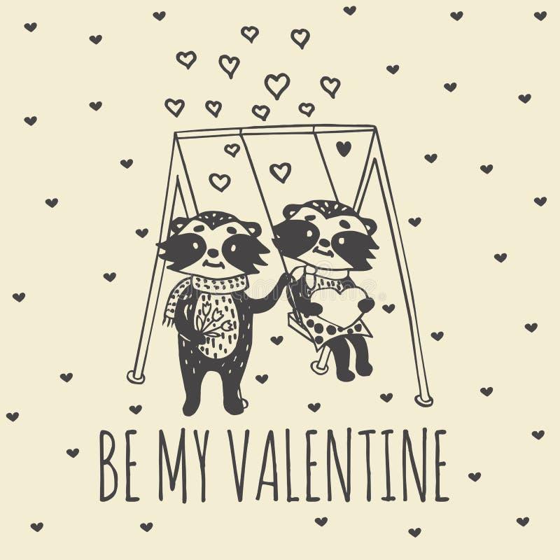 Valentindagkort med illustrerade tvättbjörnpar på gunga royaltyfri illustrationer