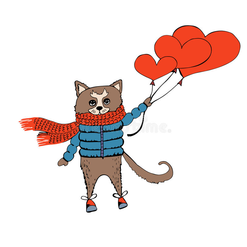 Valentindagkort med katten och hjärtor royaltyfri bild