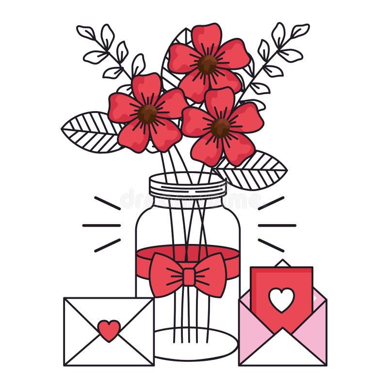 Valentindagkort med kruset och symboler royaltyfri illustrationer