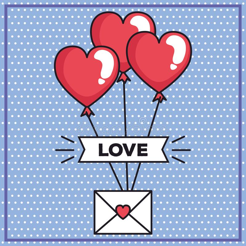 Valentindagkort med kuvert- och ballonghelium i formhjärta vektor illustrationer