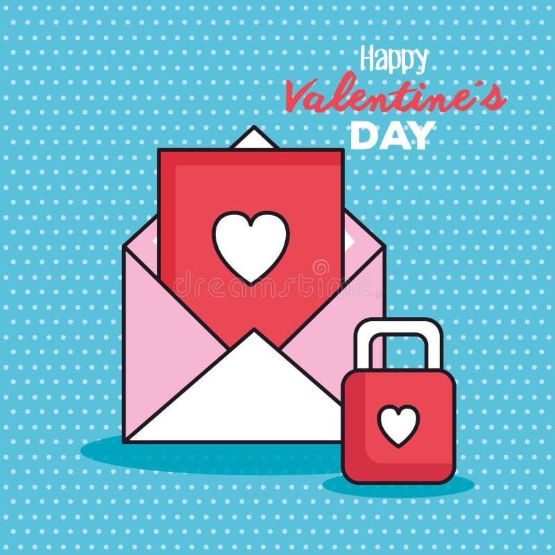 Valentindagkort med kuvertet och hänglåset stock illustrationer