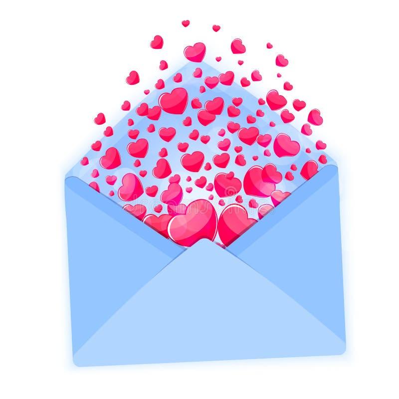 Valentindagkort med kuvertet och rosa färghjärtavektorn vektor illustrationer