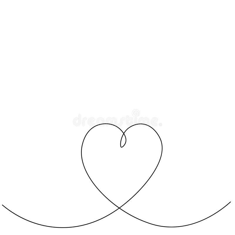 Valentindagkort med linjen teckning f?r f?r?lskelsehj?rta en vektor illustrationer
