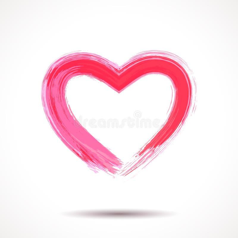 Valentindagkort med målad hjärta stock illustrationer