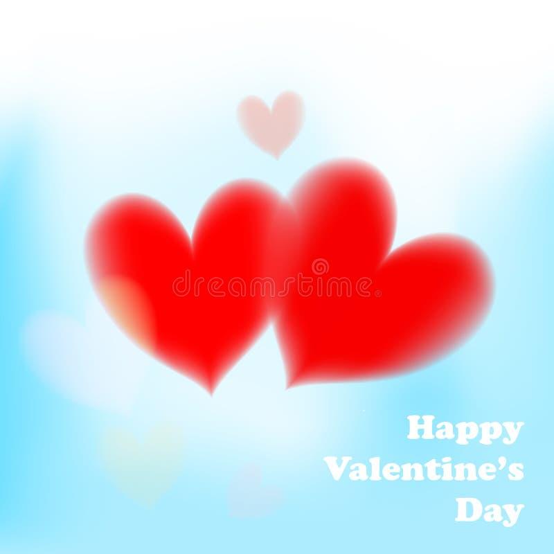 Valentindagkort med mjuka röda hjärtor på blå bakgrund stock illustrationer