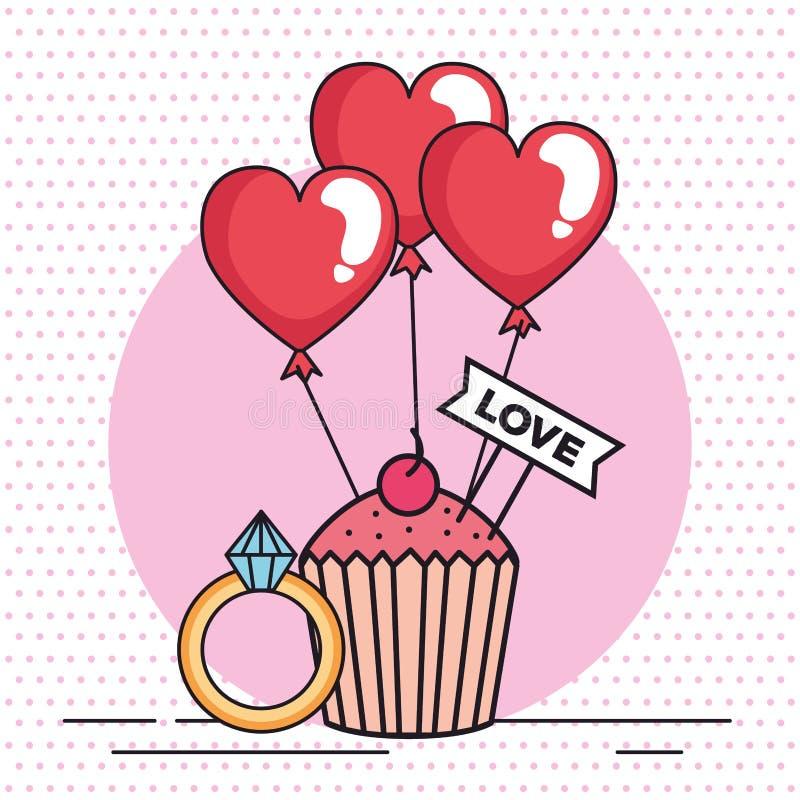 Valentindagkort med muffin och cirkeln vektor illustrationer