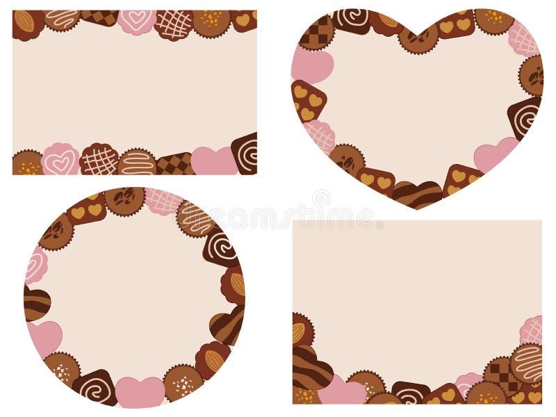 Valentindagkort med olika choklader arkivbilder