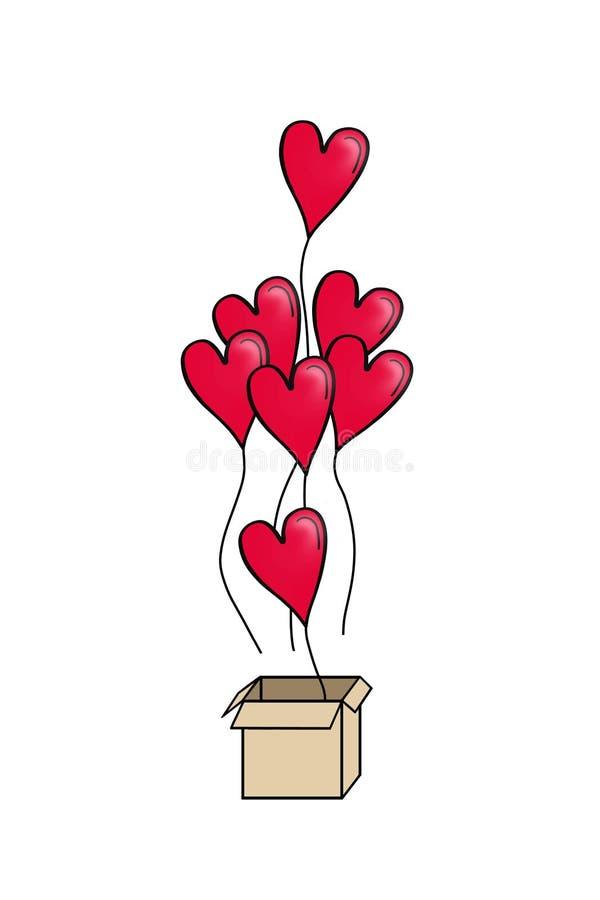 Valentindagkort med röda hjärtaballonger Hjärtaballonger med gåvaasken vektor illustrationer