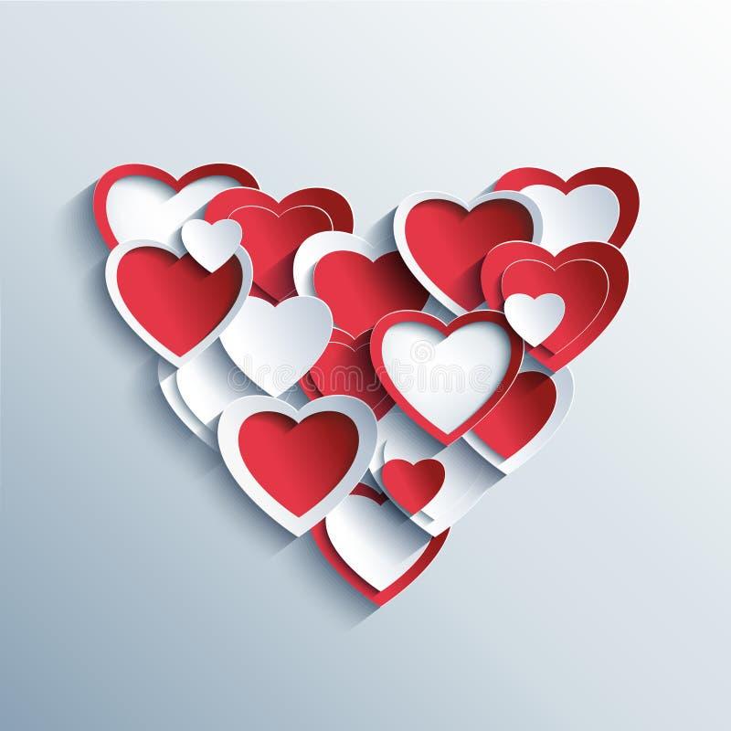 Valentindagkort med röda och vita hjärtor 3d stock illustrationer