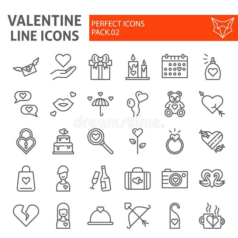 Valentindaglinjen symbolsuppsättningen, romanska symboler samlingen, vektor skissar, logoillustrationer, linjärt förälskelsetecke royaltyfri illustrationer