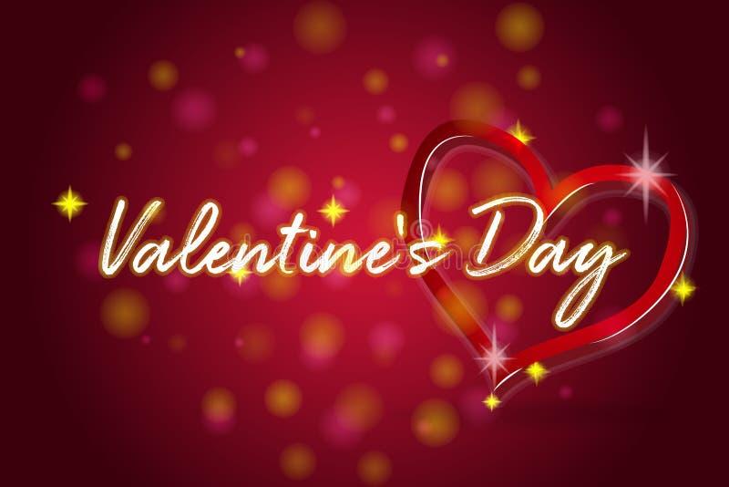 Valentindaglyckönskan på röd bakgrund vektor illustrationer
