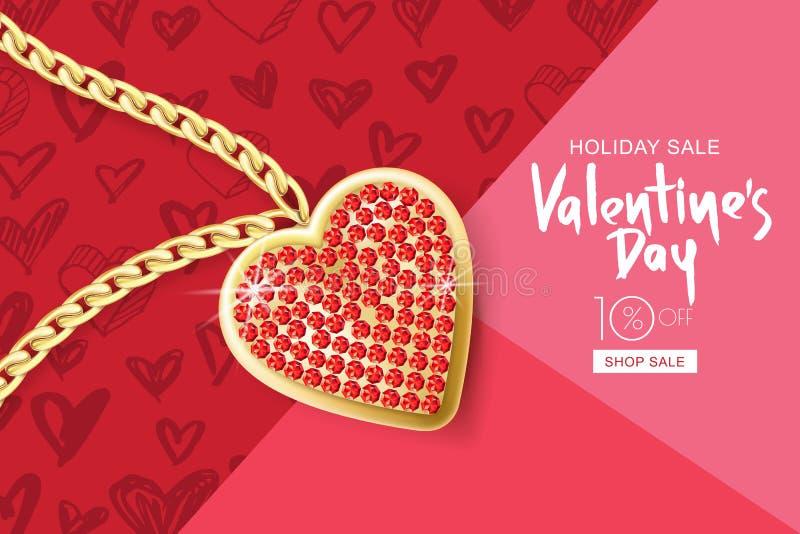 ValentindagSale baner Vektorbakgrund med den guld- halsbandkedjan och den röda hjärtahängen på rosa färger texturerade papper royaltyfri illustrationer