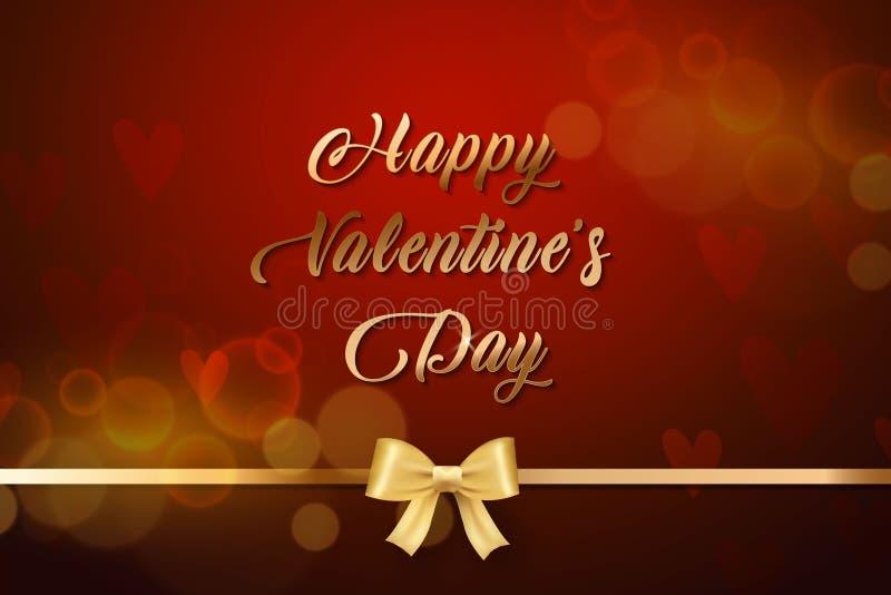 ValentindagSale guld- text i ram på annonsering av affischmeddelande med guld- hjärtaballonger på röd bakgrund vektor royaltyfri illustrationer