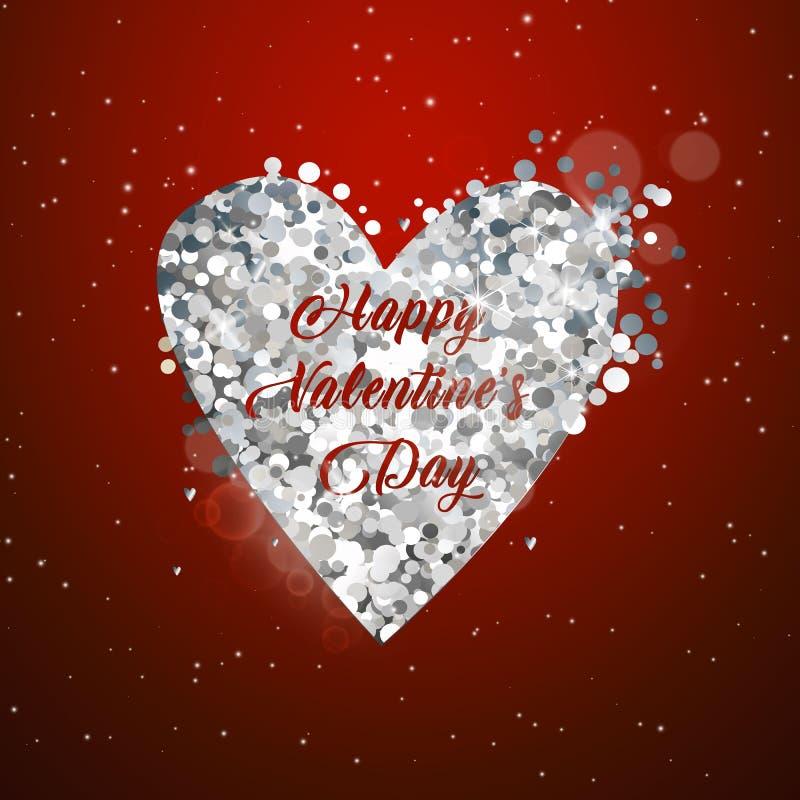 ValentindagSale guld- text i ram på annonsering av affischmeddelande med guld- hjärtaballonger på röd bakgrund vektor stock illustrationer