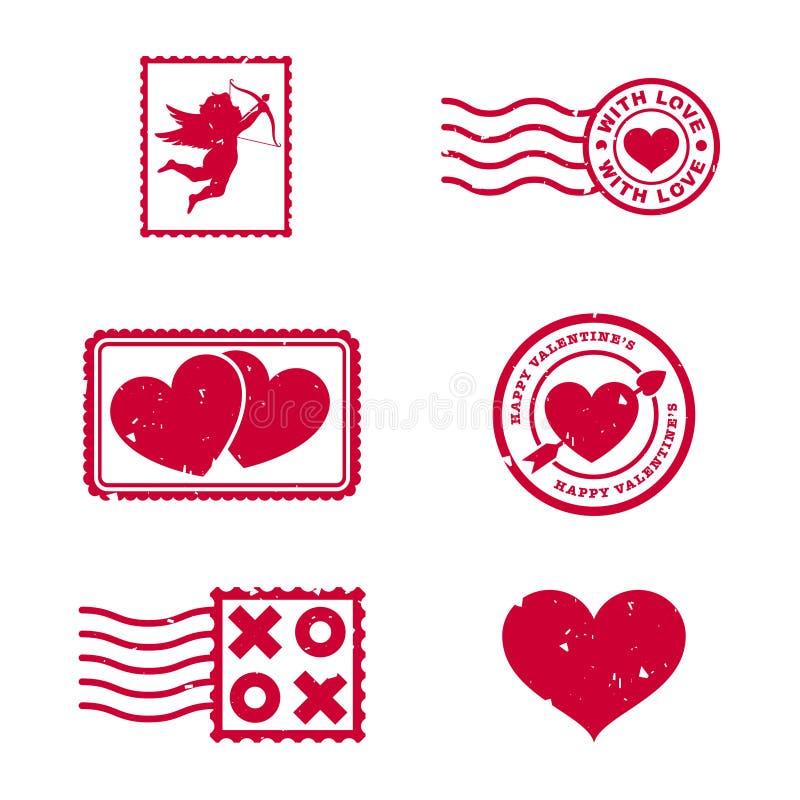 Valentindagstämplar stock illustrationer