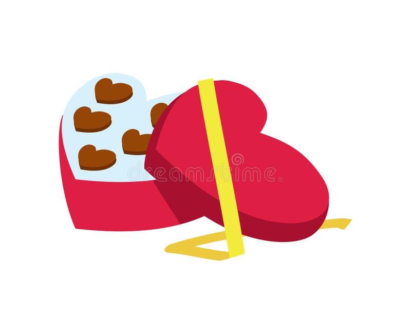 Valentindagsymbol med godisasken i hjärtaform stock illustrationer